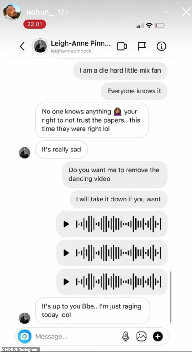 Raging:A second slew of messages saw Leigh-Anne insist that 'no one knows anything' when it comes to the fallout and that she was 'raging'