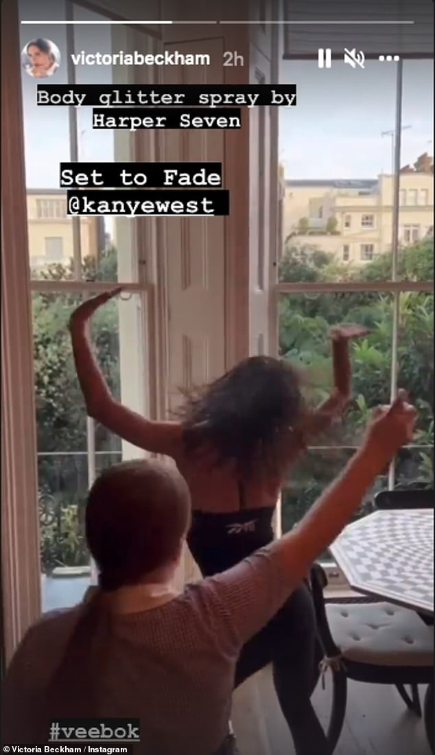Born to perform: This comes after VB proved he's still an entertainer at heart as he danced a dance while 10-year-old daughter Harper showered her with body glitter spray in an Instagram clip on Monday was sprinkled.