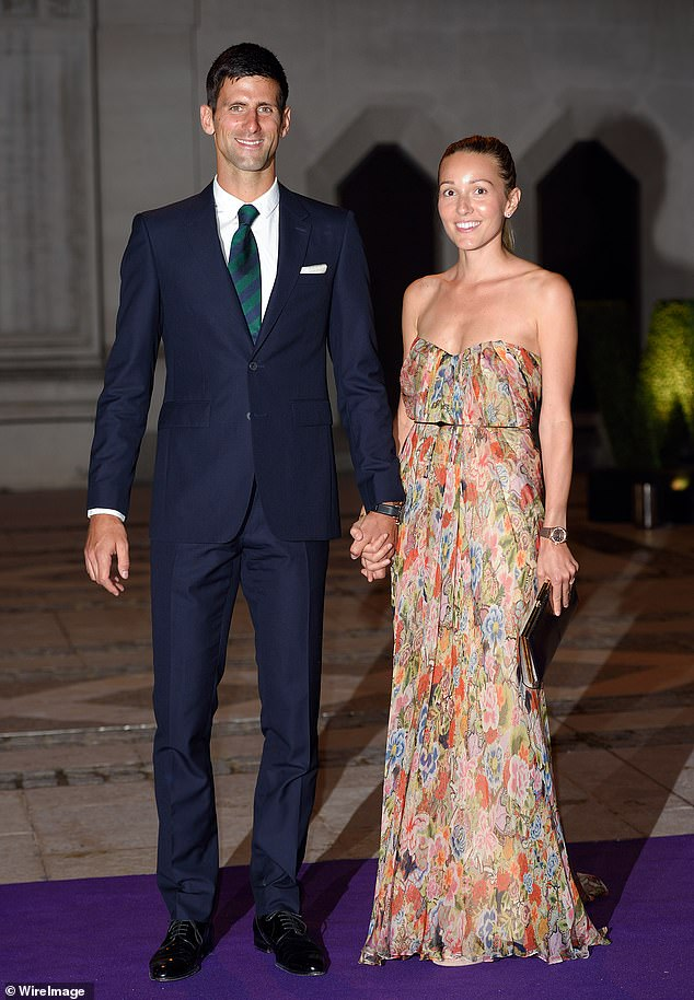 A vaccine mandate may force Novak Djokovic out of the tournament, after he openly opposed the jab (pictured, Djokovic pictured with wife Jelena)