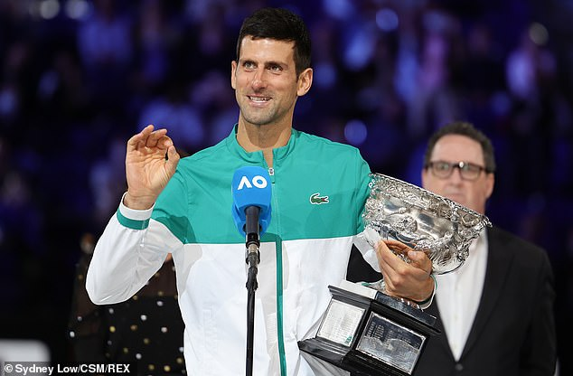 International tennis stars are being urged to get vaccinated by Victoria's sports minister if they want to play in the Australian Open (pictured, mens world no.1 Novak Djokovic)