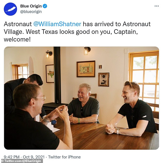 The crew patiently awaits their tip at Blue Origin's Astronaut Village in West Texas — Blue Origin's New Shepard rocket is now scheduled to launch at 8:30 a.m. Wednesday.  The picture has Shatner left and Boshuizen right