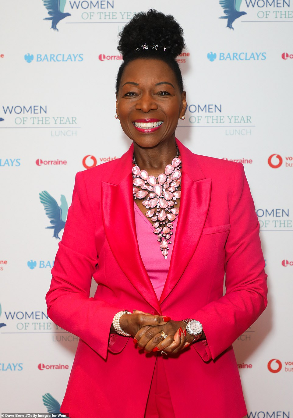 Let's look through the round window: Former Play School presenter Baroness Floella Benjamin caught the eye in a hot pink trouser suit at the annual event