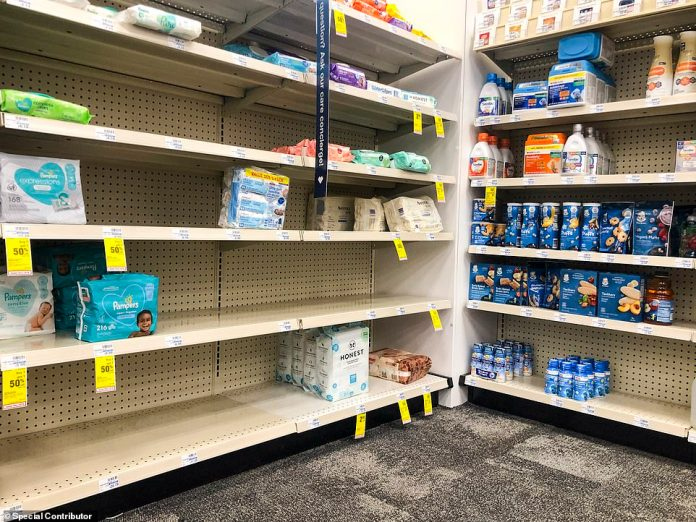 TEXAS: Shelves holding diapers remain slightly barren at CVS Pharmacy in Dallas, Texas on Monday, October 11, 2021