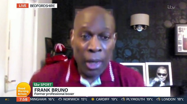 Candidate: Frank Bruno, 59, has revealed that he had the opportunity to openly discuss mental health with fellow boxing icon Tyson Fury, 33.