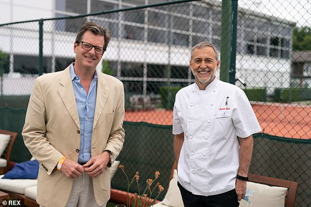 William Sitwell, left, pictured with Michelin Star chef Michel Roux Junior at the Wimbledon Tennis Championships this summer where they hosted a lunch