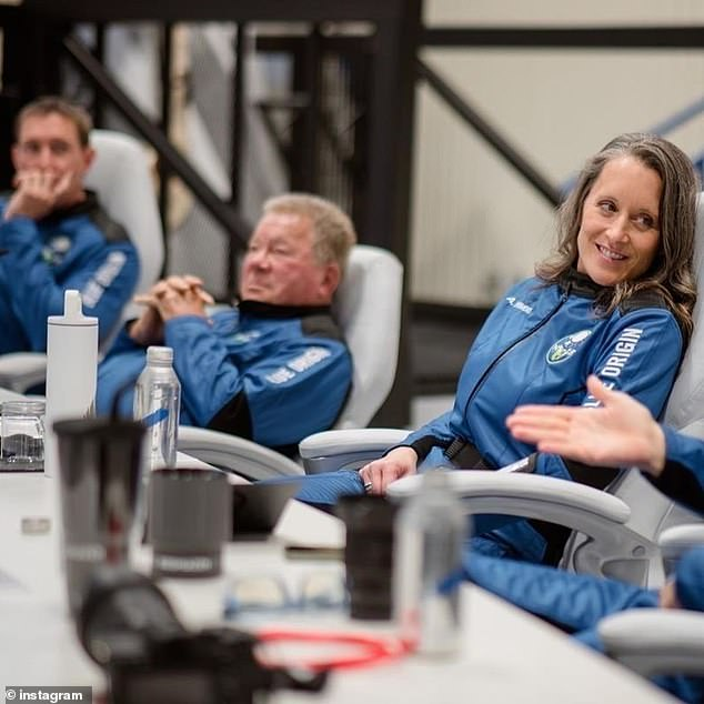 De Vries (left), Shatner (middle) and Powers (right) are pictured as they conduct training before the mission