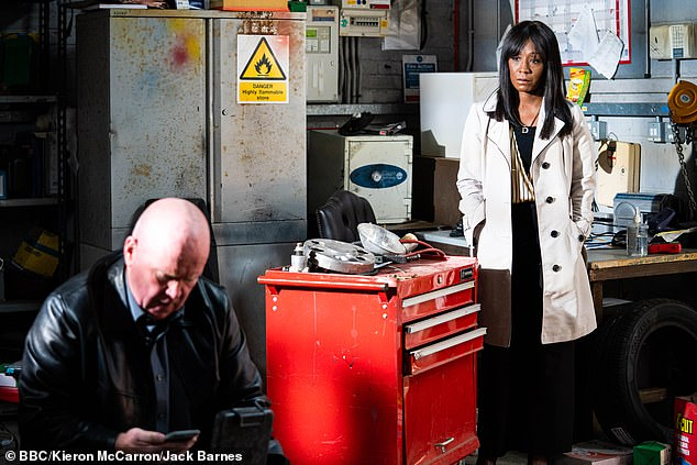 Regret: Denise, who is a member of the Fox family on the soap, is shocked by what she finds when she sees Phil. In new photos, Denise can be seen in disbelief in Phil's office