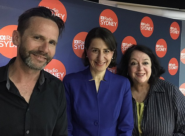 Popular: ABC Breakfast Sydney is one of the national broadcaster's most popular radio programs. In the most recent survey, the show achieved its best ratings in years. Pictured: Harmer and Buck with former NSW Premier Gladys Berejiklian