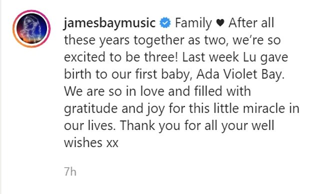 , James Bay is a dad! Singer announces he has welcomed baby girl Ada Violet, The Today News USA