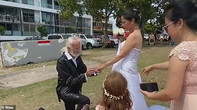 A NSW couple has celebrated the end of lockdown by getting married but were forced to tie the knot at the Queensland border