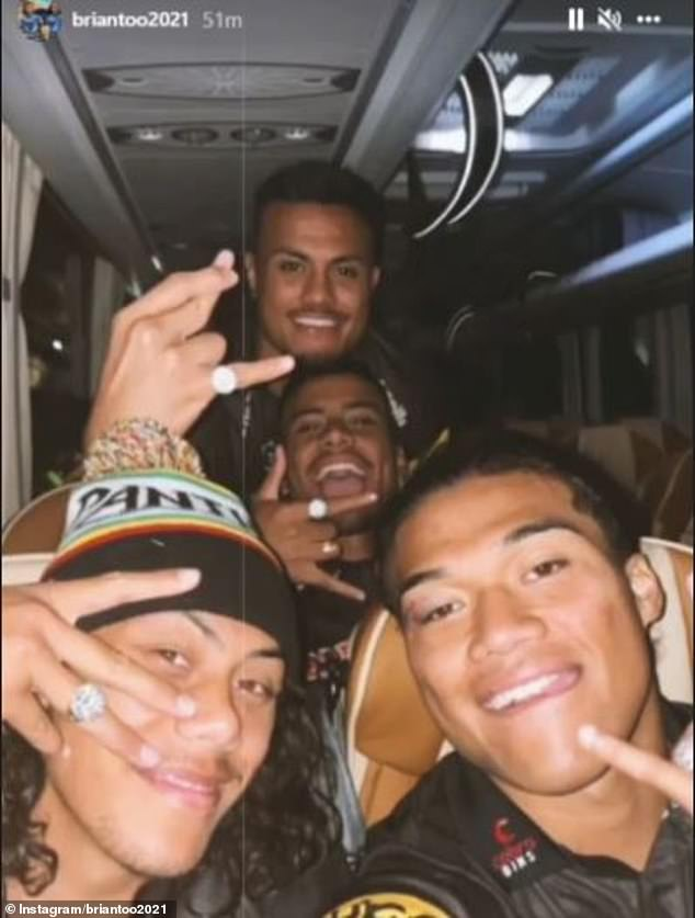 Panthers players celebrating after winning the NRL Grand Final against the Rabbitohs