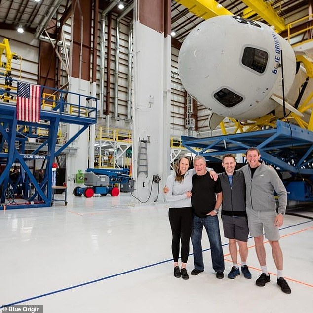 The four-man crew on the suborbital flight includes Shatner, Chris Boshuizen, Glenn de Vries and Audrey Powers, all of whom are waiting in the Astronaut Village.