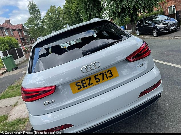 Pictured: the Audi Q3 smashed up by Luckettiin June this year