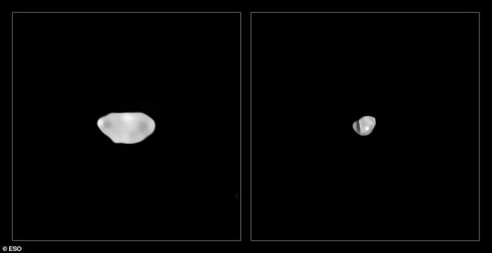 These are the least dense asteroids, Sylvia and Lamberta, which have a density of about 1.3 grams per cubic centimeter, roughly the density of coal.