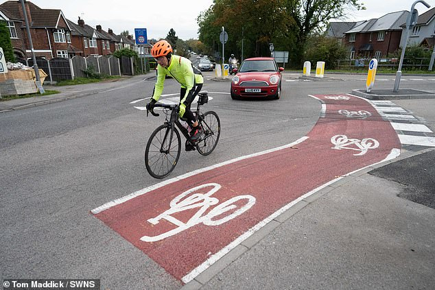 Baffled residents have slammed council bosses after a 10ft bike route that takes just two seconds to ride along was added to a roundabout
