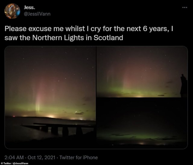 The breathtaking display made an impression last night.  Twitter user Jesse Vaughn said: 'Please forgive me when I cry for the next 6 years, I saw the Northern Lights in Scotland.'