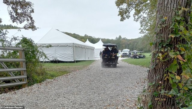 Exclusive DailyMail.com photos show tents being erected at Jennifer Gates' 124-acre, $16million horse farm in North Salem, New York