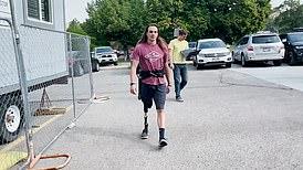 Stan Schar tests exoskeleton suit