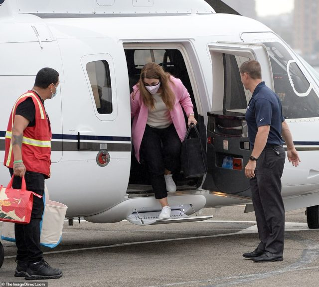 On Monday, Melinda was seen stepping off of a helicopter in New York City ahead of the big day