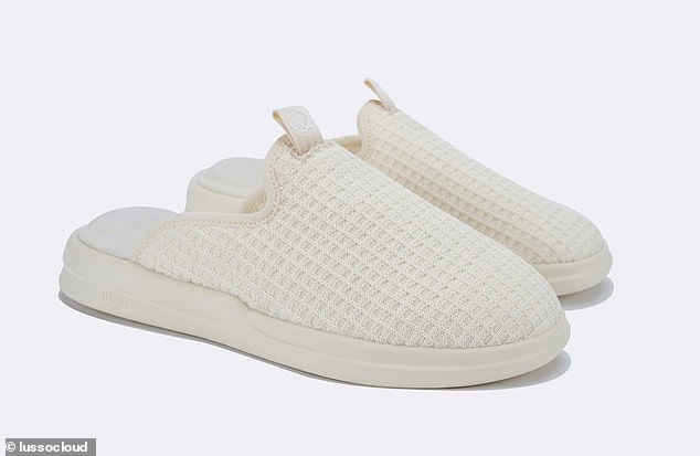 Lusso Cloud's footwear features a hotel-esque waffle knit upper made from partially recycled bamboo and a soft layer of memory foam in the lining