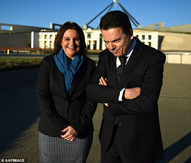 Nick Xenophon outside Parliament House in Canberra with Jacqui Lambie in 2016