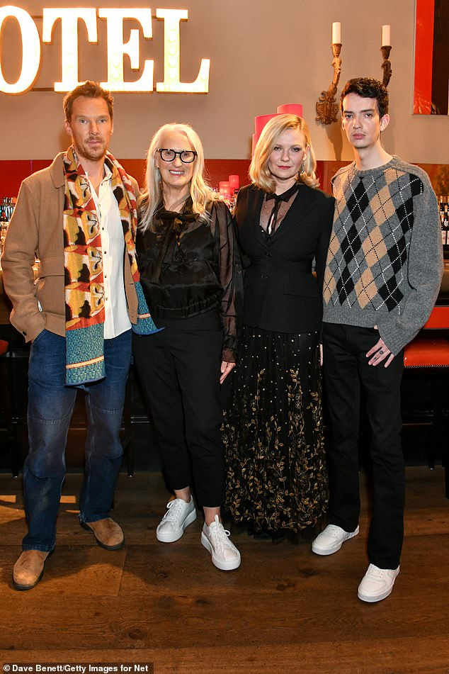 Cast: (L to R) Benedict Cumberbatch pictured with directors Jen Campion, Kirsten and Cody before screening