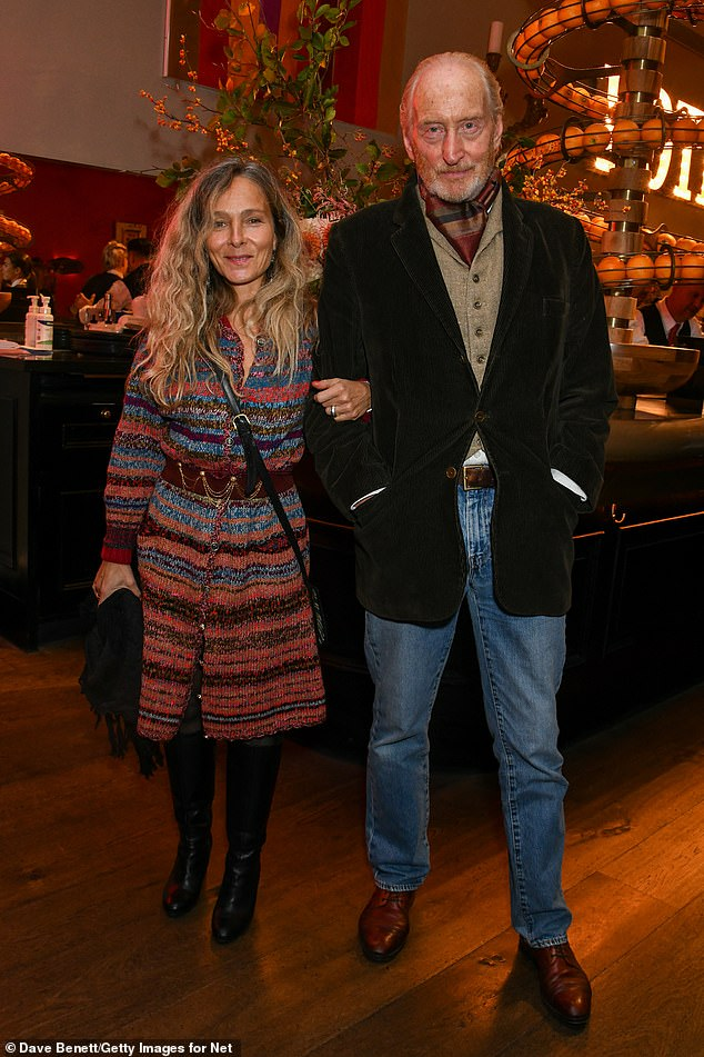 Happy couple: Actor Charles Dance OBE and his wife Alessandra Massey also made a stylish appearance
