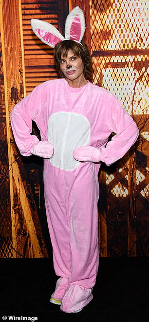 Scary: Rinna attended the star-studded event as a demented bunny rabbit, which consisted of a bright pink bunny suit, a menacing mask, and a pair of bunny ears