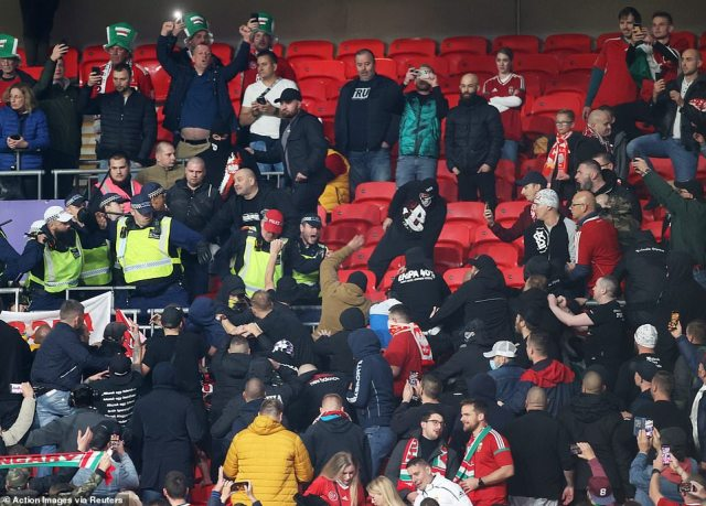Police managed to calm the fighting in the away end within around 12 minutes of the first half