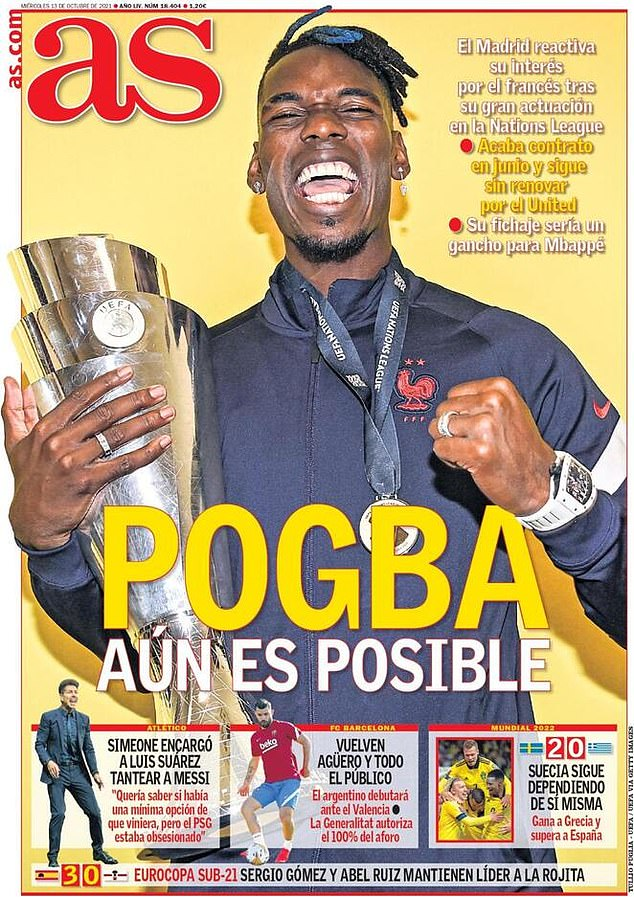 The front page of Spanish paper AS on Wednesday says Paul Pogba could join Real Madrid