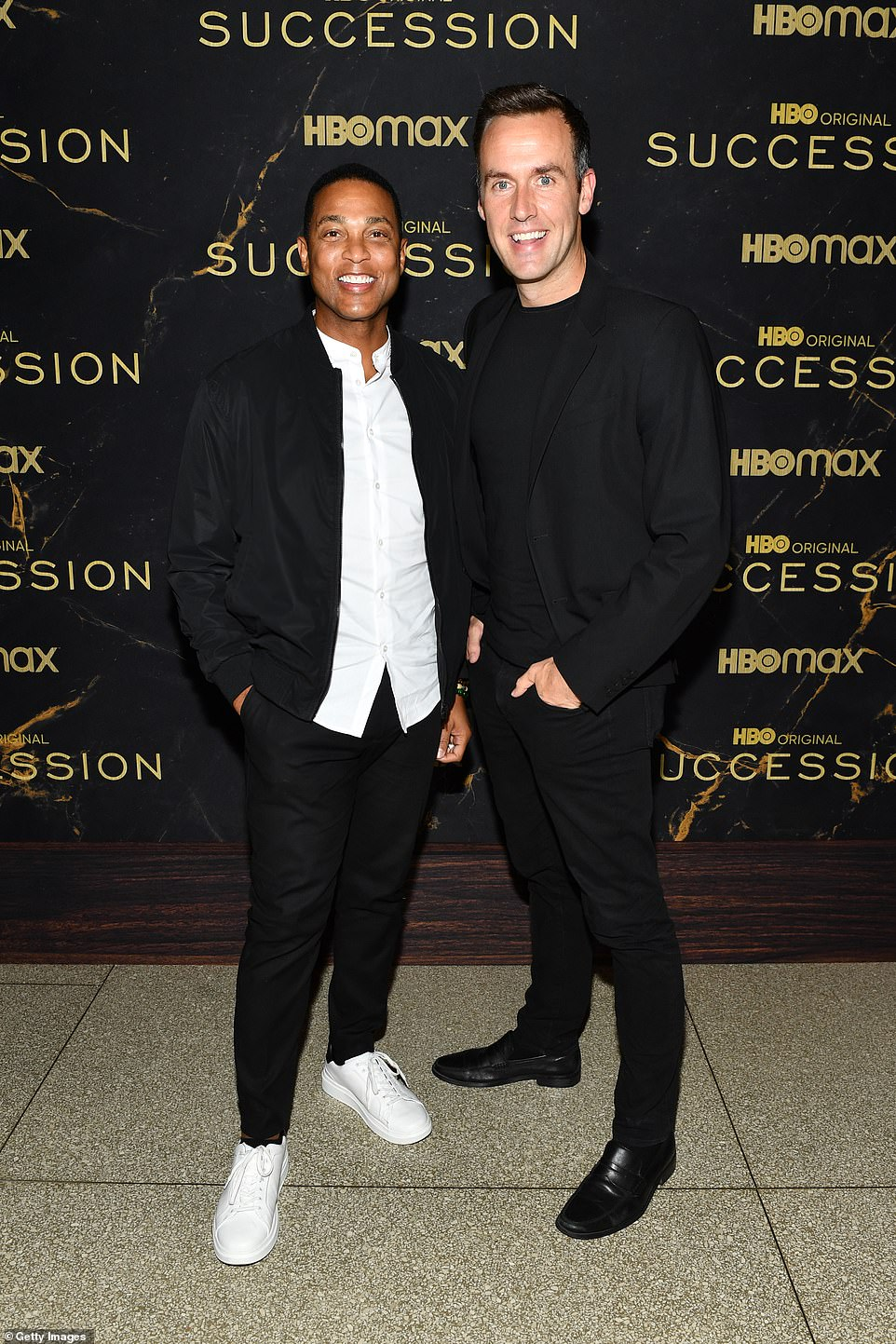 Hot couple:Don Lemon and his handsome partner Tim Malone beamed for shutterbugs. The famed journalist looked casual cool with a black sports jacket and bright white sneakers