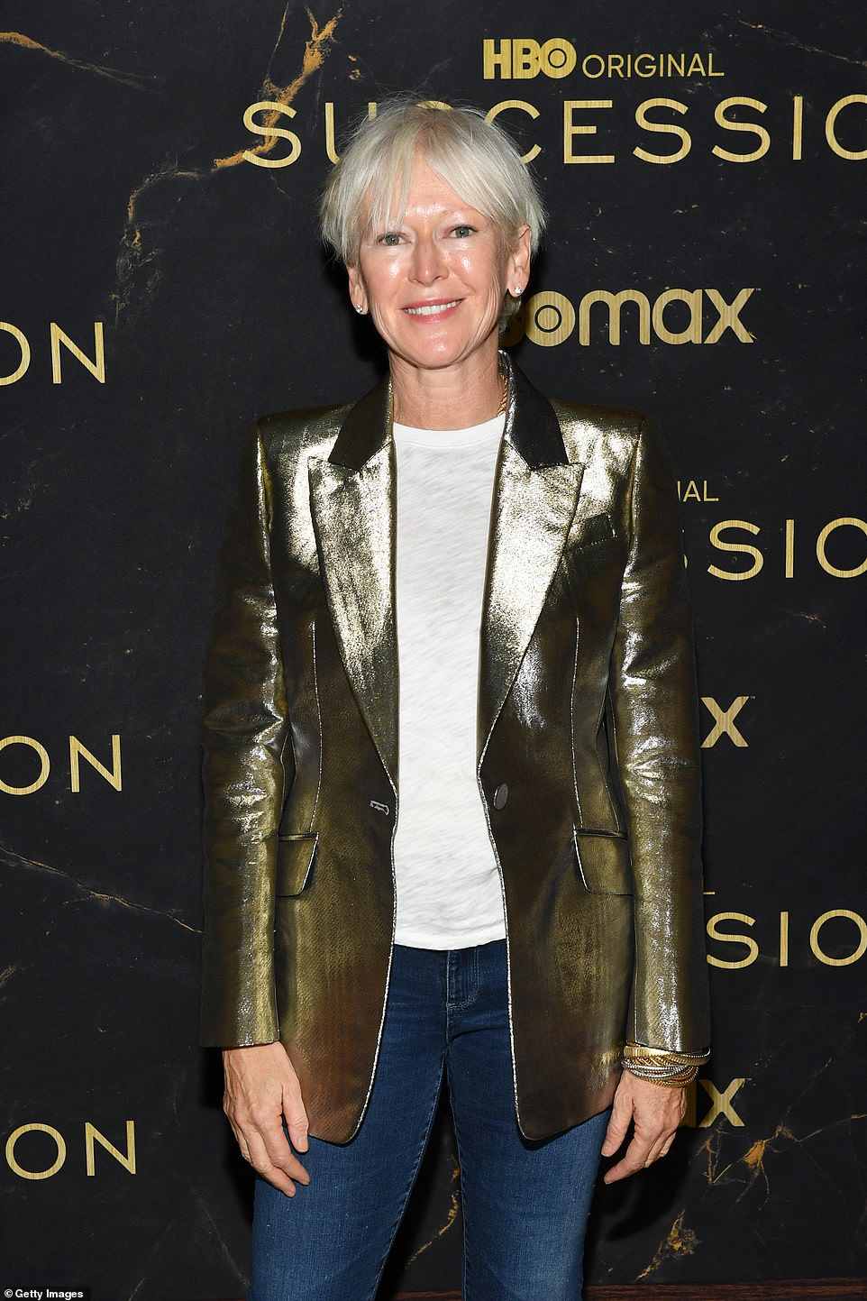 Metallic moment:Joanna Coles looked marvelous in a metallic gold jacket styled with some skintight jeans and a plain white tee