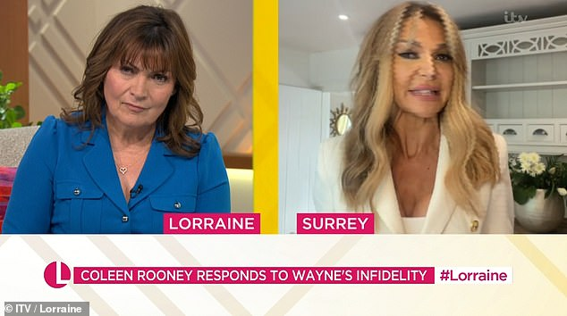 'She loves him':Sharing her opinions on the matter with host Lorraine Kelly, Lizzie added: 'She wants to say it's not acceptable how he's behaved at times, but she loves him'