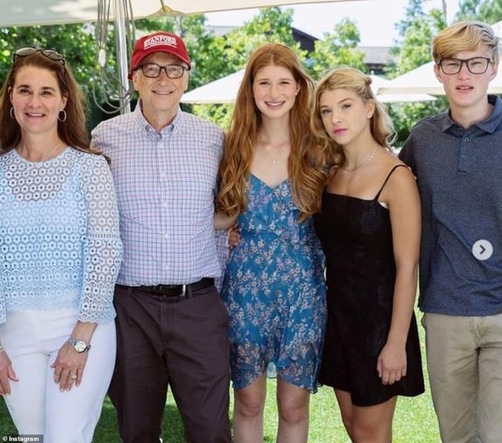 Jennifer is the eldest of Bill and Melinda's three kids. Her parents finalized their billion dollar divorce in recent months. The family are picturedson Rory (right) is 22, and daughter Phoebe (second from right) is 19