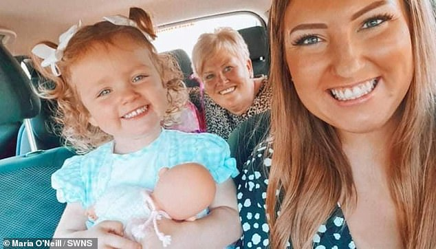 Ms O'Neill (right) said: 'Compared to other people, I have been quite fortunate with the side effects.  'I'm a little tired mainly but I can lead a normal life.  I am trying to keep life as normal as possible for my daughter.