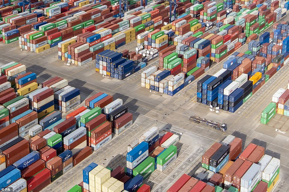 Maersk has said it is diverting vessels away from UK ports to unload elsewhere in Europe. Felixstowe is pictured today