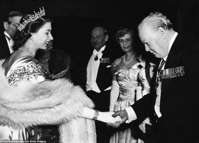 Sir Winston greets the then Princess Elizabeth at the Guildhall in London in 1950