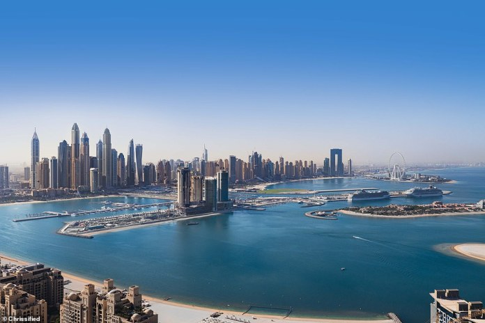 Aura Skypool is launching in mid-November in Dubai. Pictured is the southerly view from the 360-degree infinity pool