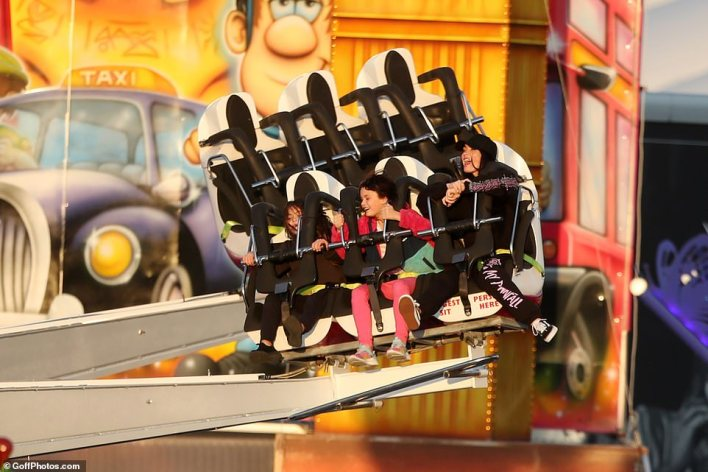Scream if you want to go faster!  The 35-year-old actress cried with delight as she took part in some of the theme park's biggest rollercoasters along with her bosom.
