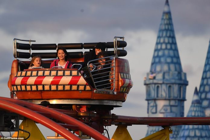 Fun times: She's gearing up for a new role in the action-packed Expendables 4, yet Megan showed she wasn't taking her downtime easy as she spent time with her kids Noah, Nine, Bodhi, Seven, and Journey to Luna Park had enjoyed.  , Five