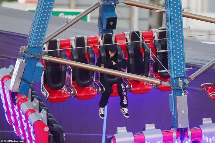 Adult Time: Meghan then chose to ride it alone as she took the gigantic ride by herself without her kids present