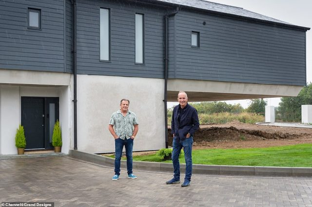 The plot of watery wilderness is an empty canvas on which Geoff can paint a new life and is an impressive 7 and a half acres big, Pictured, the exterior of the finished build