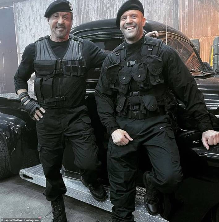 Someone to watch: Meghan is set to start filming Expendables 4 after joining the star-studded cast that includes Sylvester Stallone and Jason Statham (pictured together)