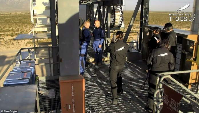 All dressed in blue flight suits with the company name in white letters on one sleeve, the team boarded the white capsule after departing from Blue Origin boss Jeff Bezos, who drove them to the launch tower and minutes from launch. First the hatch closed.