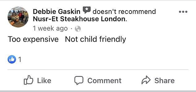 Only one less flattering review remains, with a customer branding it 'too expensive' and 'not child friendly'.