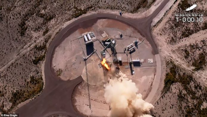 'Ladies and gentlemen, it's time to launch this rocket.  Godspeed: New Shepard,' Blue Origin launch commentator Jackie Cortes said at lift-off