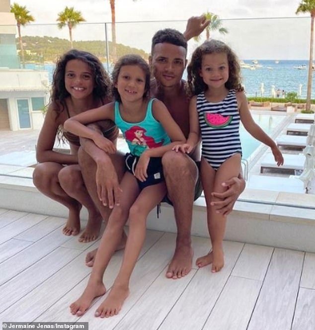 Doting daddy:The former footballer has daughters Geneva, eight, and Olivia, four, with wife Ellie as well as having daughter Sancha, 14, from a previous relationship