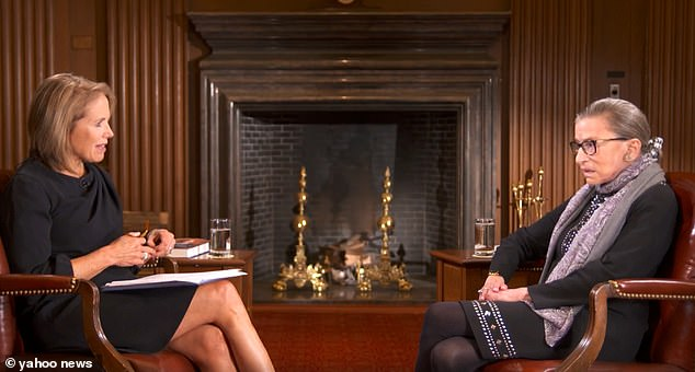 Katie Couric and RBG in a 2016 interview.Several conservative figures have blasted Katie Couric over her bombshell confession that she edited RBG's comments condemning stars who take the knee during the National Anthem