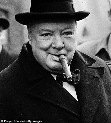 Sir Winston is known across the world for his love of cigars. Dozens of photos show him with a cigar clamped between his teeth both during his time in Downing Street and well into retirement. Pictured: Churchill in 1950