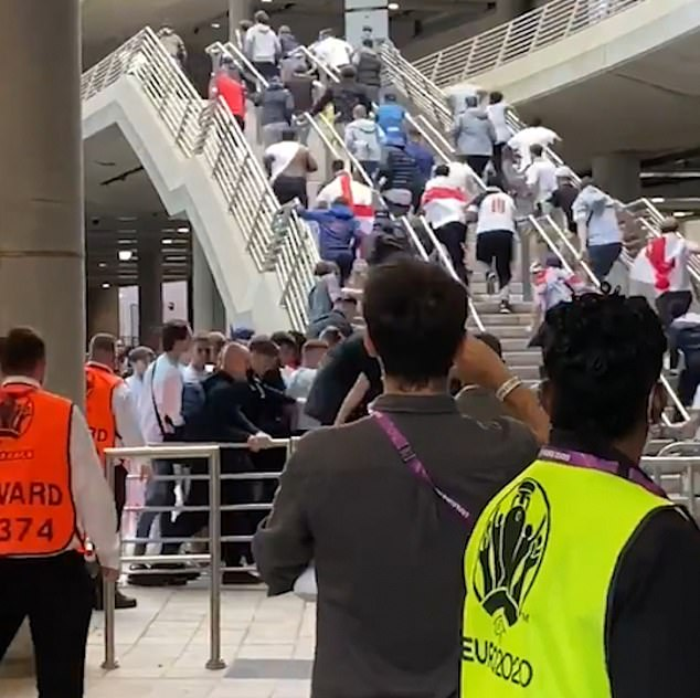 Fans stormed England's home stadium as they trespassed Wembley to watch their team play